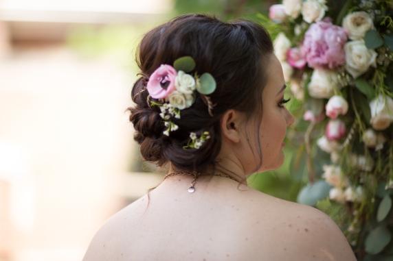 #hairflowers #bridehair #bridalupdo #floralhairaccesory #linolakesflorist
